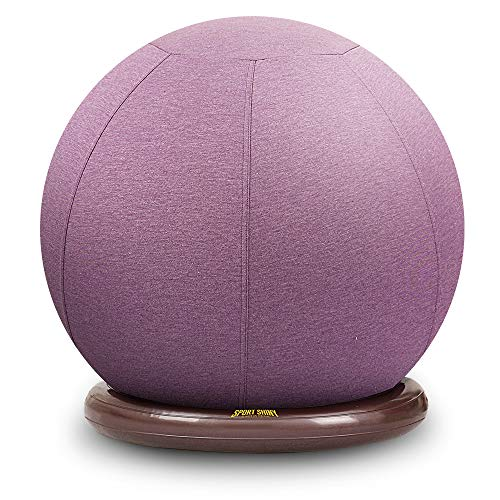 Sport Shiny Balance Ball Chair Junior,Flexible Seating Set for Kids,Yoga Ball with Machine Washable Slipcover,Ring Base Kit,Ergonomic Exercise Ball Chair,55cm Size,Purple,Quick Air Pump Included