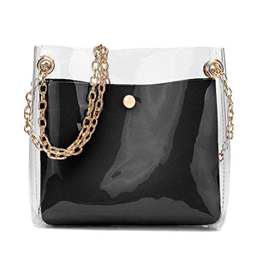 DOGZI Handtasche Damen, Klein Transparente Tasche Rucksack Damen Ledertasche Kleine Frauen Fashion Solide Schultertasche Messenger Bag Crossbody Telefon Münztüte (Schwarz) (Schwarz)