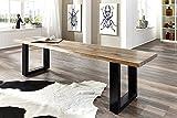 SAM Wolf Möbel Stilvolle Sitzbank Live Edge aus Akazien-Holz, naturbelassene Optik mit Einer Baumkanten-Oberfläche, Bank mit Metallbeinen aus Roheisen, nussbaum-Farben, 160 x 38 cm