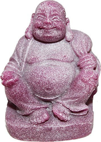 Miniature Purple Glow in the Dark Buddha with Money Bag on Shoulder