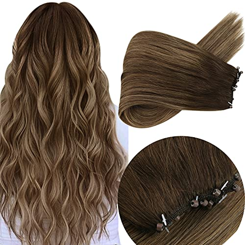 Micro Beads Weft Hair Extensions Brown Color #4 Dark Brown Fading to #27 Caramel Blonde Mixed #4 Brown EZ Hair Weft Hair...
