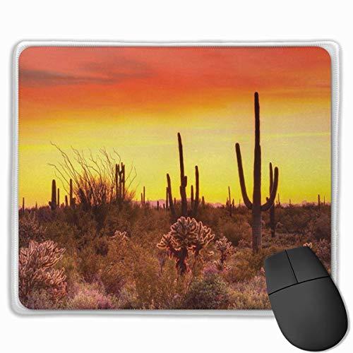 Niedliches Gaming-Mauspad, Schreibtisch-Mauspad, kleine Mauspads für Laptop-Computer, Mausmatte Saguaro Eve Sky im kargen Land mit Kakteen und ungeraden Unkräutern rund um die trockene Erde Foto Rot G
