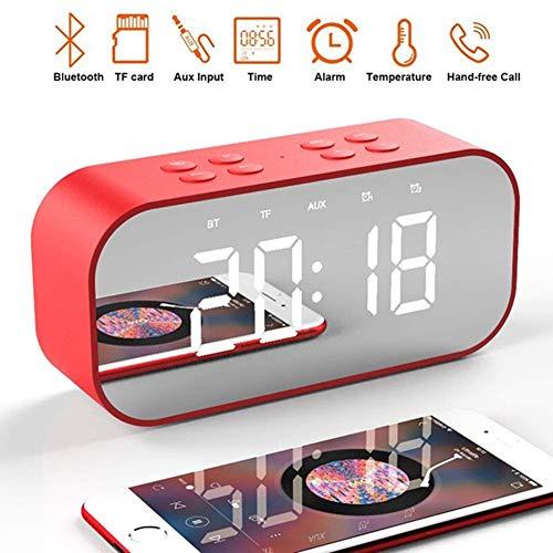VCXZ LED spiegel klok kinderen wekker nacht bureau digitale klok met draadloze Bluetooth luidspreker ondersteuning aux tf USB Music Player