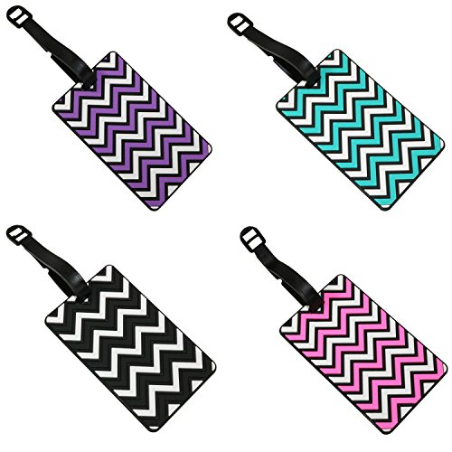 Set of 4 Zig Zag Patterned 3D Rubber Luggage Name Tags
