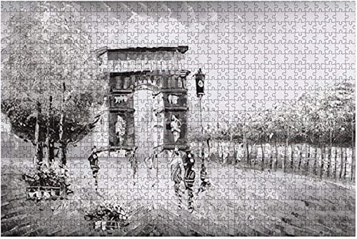 1000 piezas-Castillo de Osaka en la nube y la torre principal del Patrimonio Mundial de la UNESCO Rompecabezas de madera DIY Rompecabezas educativos para niños Regalo de descompresión para adultos Ju