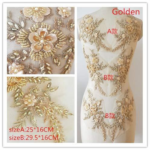 3D-Spitzenapplikation mit Blumenapplikation, bestickt, ideal zum Basteln, Nähen, Kostüm, Abenden, Hochzeit, 3 Paar in 1 A6 gold