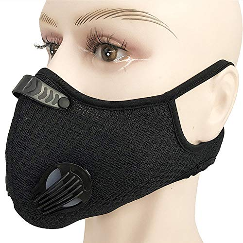 Nylon Dust Face Mask with 5Pcs Active Carbon Filters,Reusable and Washable Nylon Face Cover,Personal Protective Adjustable for Running, Cycling, Outdoor Activities