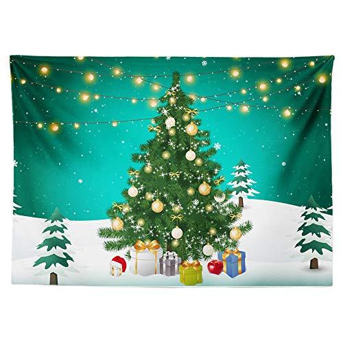 Athyior Navidad Mandala Tapices Tapiz Hippie Santa Claus Arbol de Navidad Tapices Decoración de Pared Dormitorio...