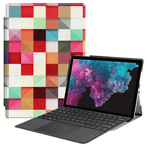 Dmtrab para Microsoft Surface Pro 4/5/6 12.3 Pulgada Funda, patrón de Cubo mágico Coloreado Pintado Horizontal Flip PU Funda Protectora de Cuero con Soporte y Ranura de bolígrafo Cubierta Elegante