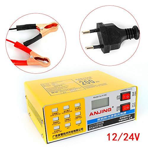 RainWeel Batterieladegerät Reparatur Elektrik 12/24V 200 AH Batterie Ladegerät Intelligent Puls Reparatur für Auto KFZ Motorrad
