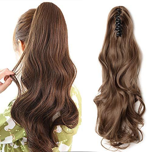 Clip in Zopf Haarteil wie Echthaar Ponytail Haarverlängerung Gewellt Günstig Pferdeschwanz Extension mit Butterfly-Klammer 18'(45cm) Hellbraun
