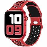 Fengyiyuda Reemplazo Deportivo de Silicona Compatible con Correa Apple Watch Pulsera 38 mm 40 mm 42 mm 44 mm, Pulsera Suave y Transpirable para iWatch Series 6/5/4/3/2/1 / SE Red&Black-42/44-L