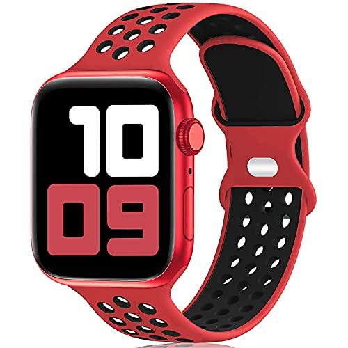 Fengyiyuda Sostituzione sportiva in silicone compatibile con cinturino Apple Watch 38 mm 40 mm 42 mm 44 mm, compatibile con iWatch serie 6/5/4/3/2/1/SE Red&Black-42/44-L