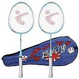 XINMYD Raqueta de bádminton para niños, un par de aleación de Aluminio, Raqueta de bádminton para niños de Dibujos Animados, Juguete Deportivo al Aire Libre(Azul)