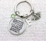 Winnie The Pooh, Always Remember You Are Braver', Personalised Pooh Bear Quote Keyring, Bee Charm, Initial and Birthstone Crystal