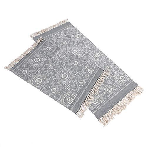 SHACOS Alfombra Tejida a Mano con borlas,alfombras de algodón Estampadas geométrica/Esterilla Lavable Ideal para Puertas,cocinas,Sotano etc.-60 x 90 cm