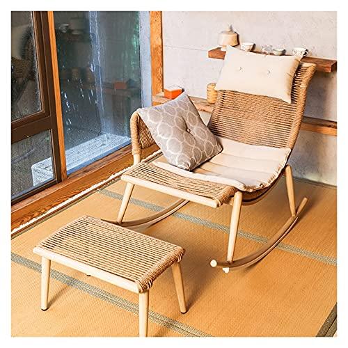 KUYH Silla mecedora para sala de estar, silla mecedora de mimbre con marco de aluminio para jardín, con reposapiés