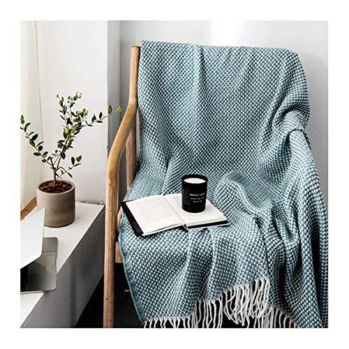 LYQZ Weich Große Strukturierter Strick weiche Decke mit Quasten, Warm Cozy Woven Acryl-Decke (blau, 51x87 Zoll)