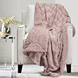 The Connecticut Home Company Soft Fluffy Warm Faux Fur and Sherpa Throw Blanket, Luxury Thick Fuzzy Blankets for Home and Bedroom Décor, Washable Accent Throws for Sofa Beds Couch, 65x50, Dusty Rose