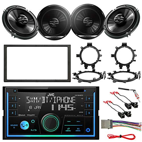 Double DIN Bluetooth USB CD Player AM/FM Stereo Receiver Bundle Combo with 4X 6.5 300W Coaxial Speakers w/Brackets & 4X Wiring Harness, Dash kit, Antenna Adapter - Compatible with Select GM Vehicles