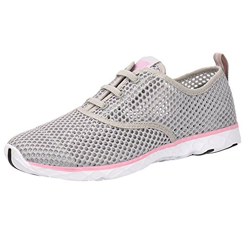 ALEADER Women's Quick Drying Aqua Water Shoes Light Gray/Pink 9.5 B(M) US