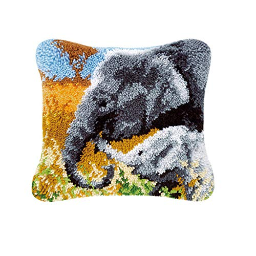 KOOYR DIY Latch Hook Kit, Cushion, Pillow Cover Sofa Cover, Elephant 17x17 Inch Handmade Embroidery Pillowcase Crochet Sewing, Crochet Crafts for Children and Adults