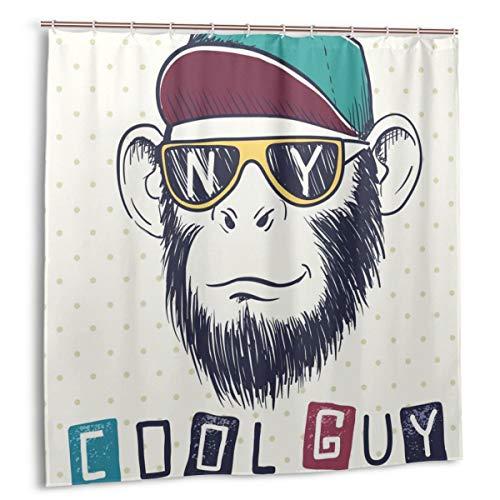 fudin Duschvorhang, Cooler Affenschimpanse mit Sonnenbrille und Mütze. Initialen des Badvorhangs der Stadt New York mit Haken