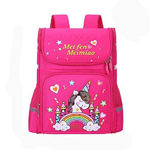 BOLONG Children's Boys and Girls School Backpack 38 * 15 * 28Cm Elementary School Bag, Cartoon Cute School Bag Rose red