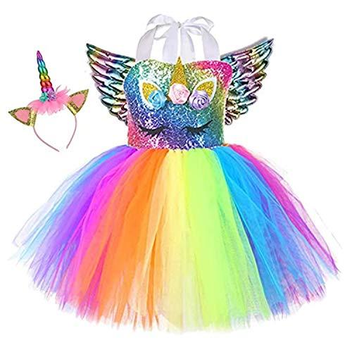 Sincere Party Vestido de tutú de unicornio para niñas Vestido de cumpleaños de unicornio arcoíris esponjoso con diadema y alas 8-9 años