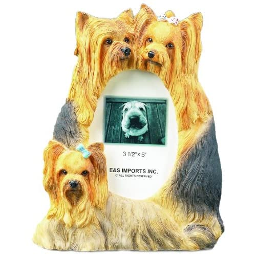 Yorkie Picture Frame Holds Your Favorite 3 x 5 Inch Photo, A Hand Painted Realistic