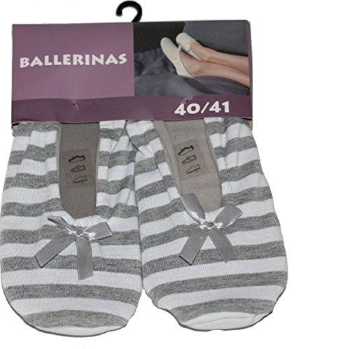 socksPur 1 PAAR Ballerinas mit Ledersohle, (40-41, grau-gestreift)