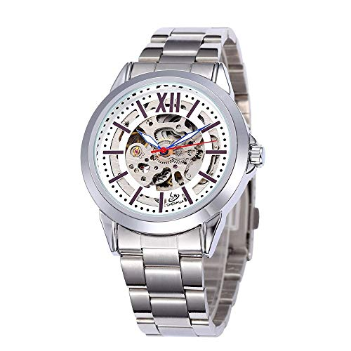 GSERA Reloj Reloj Mecánico Casual De Acero Inoxidable Hueco para Hombre Reloj De Pulsera para Hombre De Acero Inoxidable
