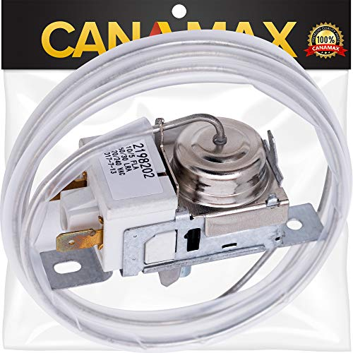 2198202 Refrigerator Cold Control Thermostat Premium Replacement Part by Canamax - Compatible with Whirlpool and Kenmore Refrigerators - Replaces 2161284, WP2198202VP, WP2198202