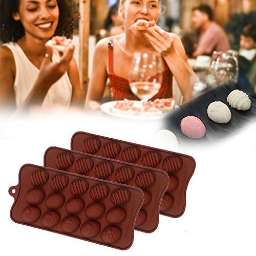 XIEJ 15 Cavity Easter Eggs Silikonform Pralinenformen, Halbeierform Schokoladenform für Osterkuchen Dekorieren Home Kitchen DIY Backen, Süßigkeiten, Seife, Badebombe, Kerzenwachs, 3St