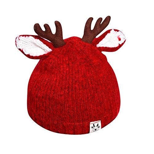 LAIKETE Cappello Bambino Unisex Crochet con Orecchie Renna Inverno Caldo Bimbo Cervo Corno Cappelli Lavorato Maglia con Pom Cosplay Regalo di Natale Compleanno