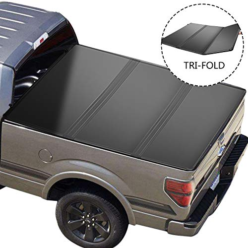 VEVOR Truck Bed Cover with LED Lights, Tri-Fold Auto Truck Bed Tonneau Cover for 5.7ft Truck Bed, Pickup Truck Bed Accessories with 6 Bolts, Hard Truck Topper for Dodge Ram 1500 2500 2009-2019