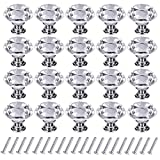 Crystal Knobs,20Pcs 30mm Glass Drawer Knobs Crystal Door Handles Diamond Pulls Zinc Alloy with Screws for Home Kitchen Office Chest Bin Drawer Decorating (20PCS)