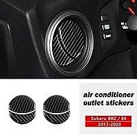4ピース赤炭素繊維インテリアセンターコンソール空調出口ベントトリムカバーステッカースバルBRZトヨタ86 アクセサリー-黒