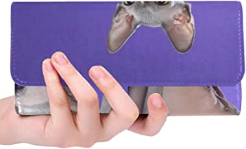 Unique Custom Cat Sfinks Naked Exotic Pet Women Trifold Wallet Long Purse Credit Card Holder Case Handbag
