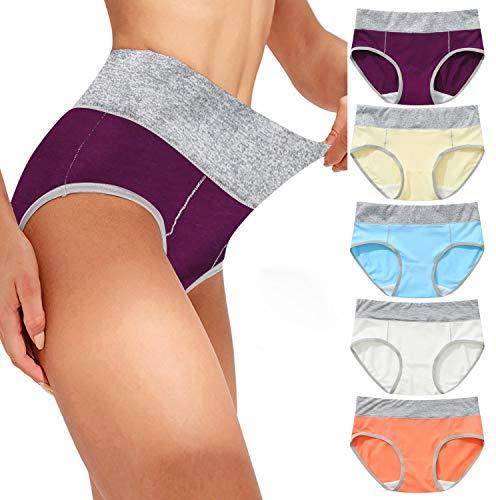Dwevkeful Damen Unterhosen Unterwäsche Baumwolle Taillenslip Hohe Taille Miederhose Mehrpack Atmungsaktiv Hipster Bequeme Slips Set 5er Pack