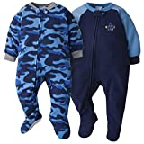 GERBER Baby Boys 2-Pack Blanket Sleeper, Blue Camo, 12 Months