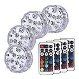 POHOVE 4 luces LED sumergibles IP68 impermeable bajo el agua LED luz funciona con pilas, luz sumergible magnética con control remoto para piscina, estanque, acuario, bañera, tanque de peces