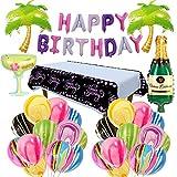 SVZIOOG Agate Balloon Coconut Tree Wine Glass Wine Bottle Aluminum Film Balloon Theme Party Decoration Black Gold Birthday Tablecloth Macarons Birthday Letter Flag 30 Piece Set