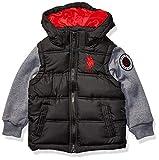 US Polo Association Boys' Toddler Bubble Jacket, Fleece Sleeves Black, 4T