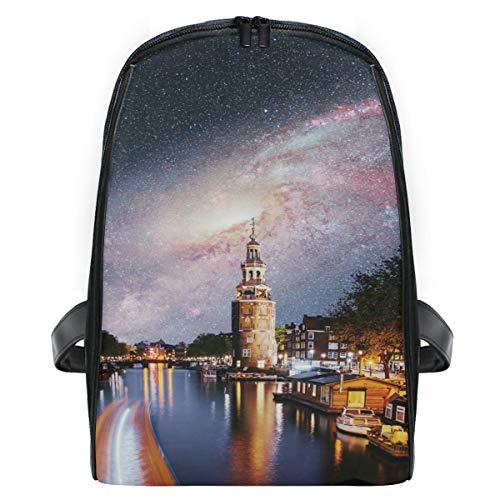Mini Rucksack Daypack Night Buildings Boats Channel Sky und Milky Way Rucksack Bag Leichtgewicht für Mädchen Jungen
