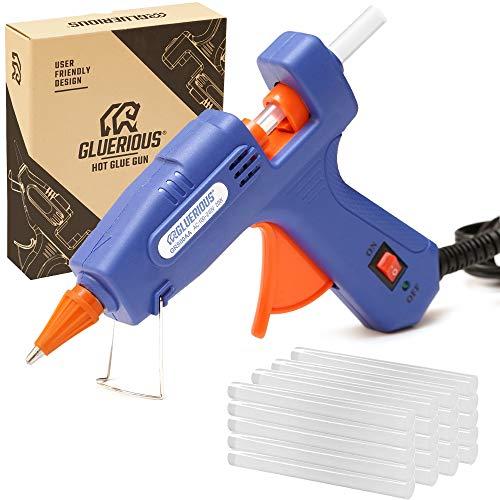 Gluerious Mini Hot Glue Gun with 30 Glue Sticks for Crafts School DIY Arts Home Quick Repairs, 20W, Blue