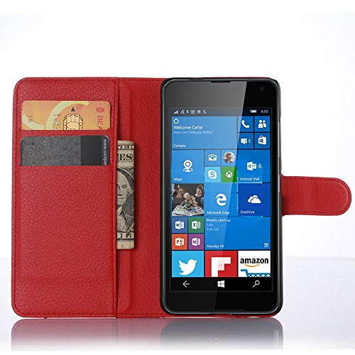Ycloud Tasche für Nokia Microsoft Lumia 650 Hülle, PU Ledertasche Flip Cover Wallet Case Handyhülle mit Stand Function Credit Card Slots Bookstyle Purse Design rote