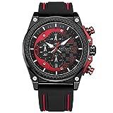 Megir - Reloj de pulsera para hombre, deportivo, con correa de silicona negra y rojo, cronógrafo, calendario, resistente al agua
