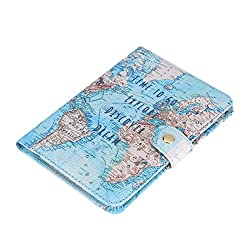 Passport holder with map pattern