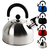 KROLLMANN 2,5 Liter Edelstahl Flötenkessel in verschiedenen Farben Teekessel Wasserkocher...